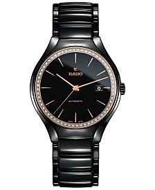 Rado Women's Swiss Automatic True Diamond (1/4 ct. t.w.) Black High-Tech Ceramic Bracelet Watch 40mm