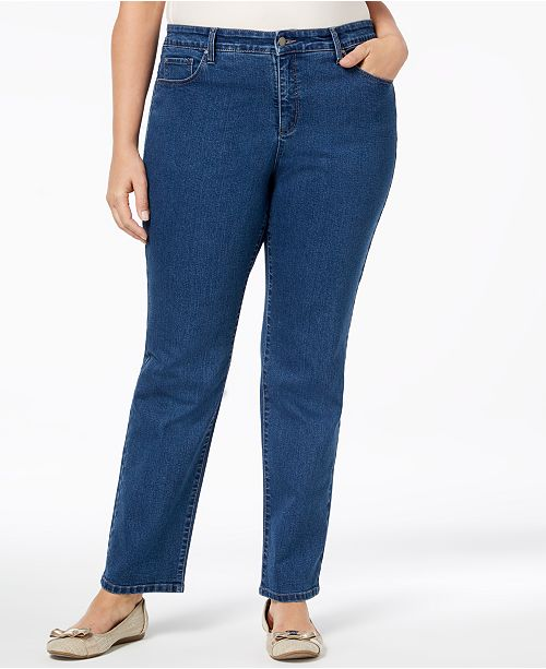 8866218af0078 Charter Club Plus Size Lexington Tummy-Control Straight-Leg Jeans ...