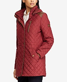 Faux-Leather-Trim Quilted Jacket