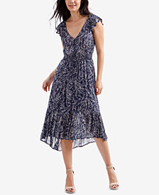 Lucky Brand Floral-Print High-Low Peasant Dress