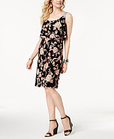 Style & Co Border-Print Flutter-Overlay Dress, Created for Macy's
