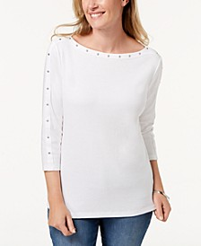 Cotton Boat-Neck Studded Top, Created for Macy's