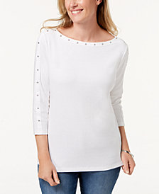 Karen Scott Petite Cotton Stud-Trim Boat-Neck Top