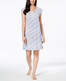 Miss Elaine Floral-Print Mesh-Trim Nightgown