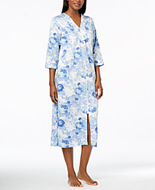 Miss Elaine Cotton Floral-Print Robe