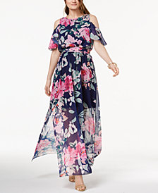I.N.C. Petite Printed Cold-Shoulder Maxi Dress, Created for Macy's