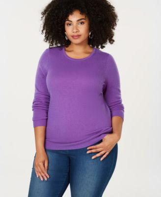 Charter Club Plus Size Pure Cashmere Crewneck Sweater Created for Macys