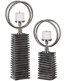 Uttermost Eugenio Black Ceramic Candleholders, Set Of 2