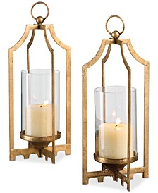 Lucy Gold Candleholders, Set of 2