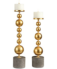 Selim Gold Sphere Candleholders, Set of 2