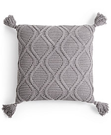 """Martha Stewart Collection Sweater-Knit Chenille 20"""" Square Decorative Pillow, Created For Macy's"""