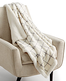 "Martha Stewart Collection Windowpane Reversible 50"" x 60"" Classic Sherpa Throw, Created for Macy's"