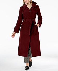 London Fog Belted Bib Maxi Trench Coat
