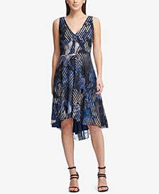 DKNY Shadow Flower Printed Double-V Dress, Created for Macy's