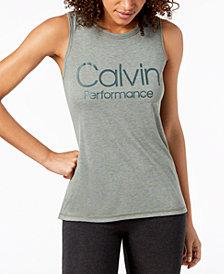 Calvin Klein Performance Logo Wide-Racerback Tank Top