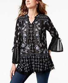 Style & Co Petite Printed Split-Cuff Top, Created for Macy's