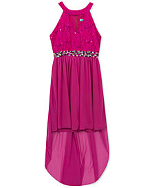 Rare Editions Big Girls Sequin Lace Keyhole Dress
