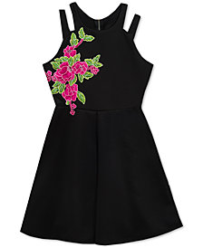 Rare Editions Big Girls Embroidered Skater Scuba Dress
