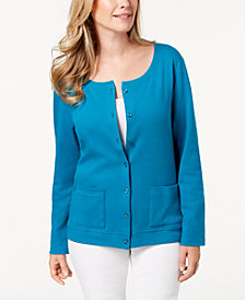 Karen Scott Cotton Button-Down Cardigan, Created for Macy's