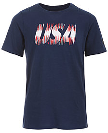 Nike Big Boys Red, White & Blue Graphic-Print Cotton Shirt