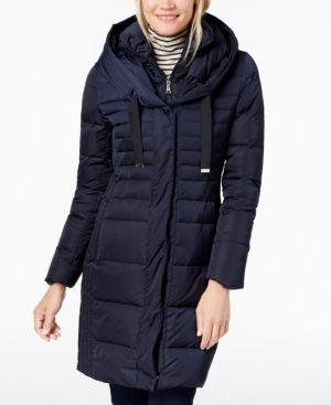 T TAHARI Mia Fitted Puffer Coat in Mystic Blue