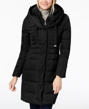 T TAHARI Mia Long Puffer Coat W/ Bib in Black