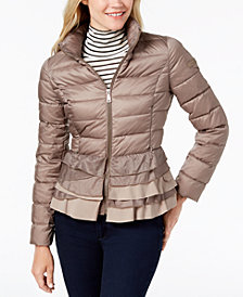 T Tahari Zoey Ruffled-Hem Packable Puffer Coat