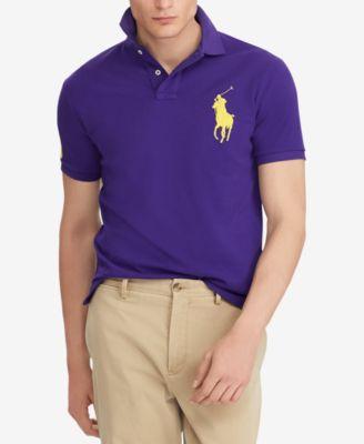 Polo Ralph Lauren Men/'s Big Pony POLO SHIRT Long Sleeve Mesh Cotton