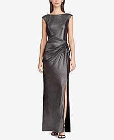 Lauren Ralph Lauren Metallic Cap-Sleeve Gown
