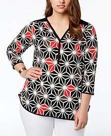 Alfani Plus Size Geometric-Print Top, Created for Macy's