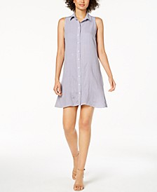 Petite Sleeveless Printed Shirtdress