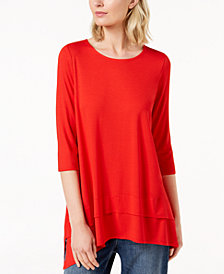Eileen Fisher Stretch Jersey 3/4-Sleeve Top, Created for Macy's