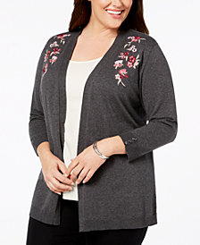 Karen Scott Plus Size Embroidered Open-Front Cardigan, Created for Macy's