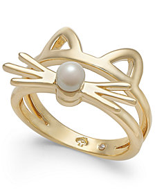 kate spade new york Gold-Tone & Imitation Pearl Cat Ring