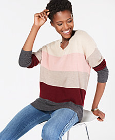 Charter Club Pure Cashmere Striped Sweater, Created for Macy's