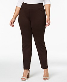 Petite Plus Size Ponté-Knit Pants, Created for Macy's