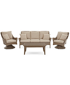 Silver Lake Indoor/Outdoor Flat Rattan 4-Pc. Seating Set (1 Sofa, 2 Swivel Club Chairs and 1 Coffee Table) with Sunbrella® Cushions, Created for Macy's