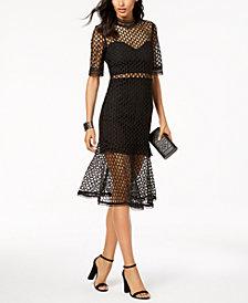 Bardot Sheer Flute-Hem Dress