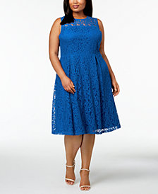Calvin Klein Plus Size Lace A-Line Dress