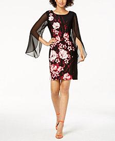 Connected Chiffon-Sleeve Floral Dress, Regular & Petite