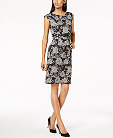 Connected Petite Belted Floral Sheath Dress