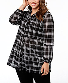 Style & Co Plus Size Printed Tiered Mesh Shirt, Created for Macy's