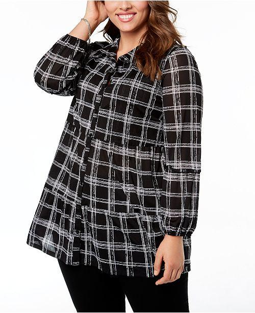 bb2b06b5e18 Style   Co Plus Size Printed Tiered Mesh Shirt