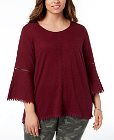 Style & Co Plus Size Lantern-Sleeve Swing-Hem Top, Created for Macy's