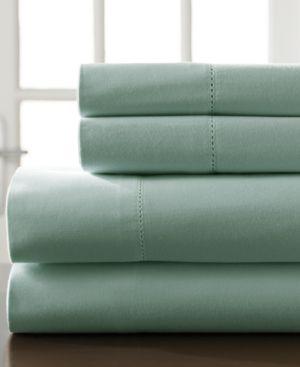 Hemstitch Cotton 400-Thread Count 4-Pc. Spa Blue California King Sheet Set Bedding 6408732