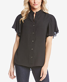 Karen Kane Ruffle-Sleeve Button-Up Blouse
