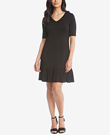Karen Kane V-Neck Ruffle-Hem Dress