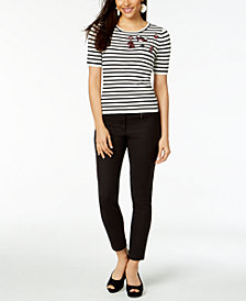 Maison Jules Striped Embellished Top & Skinny Pants, Created for Macy's