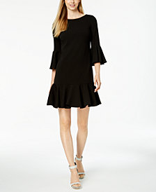 Calvin Klein Bell-Sleeve Ruffle Dress