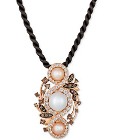 """Cultured Freshwater White Pearl (9mm), Pink Pearl (6mm) & Multi-Gemstone (1-7/8 ct. t.w.) 18"""" Pendant Necklace in 14k Rose Gold"""